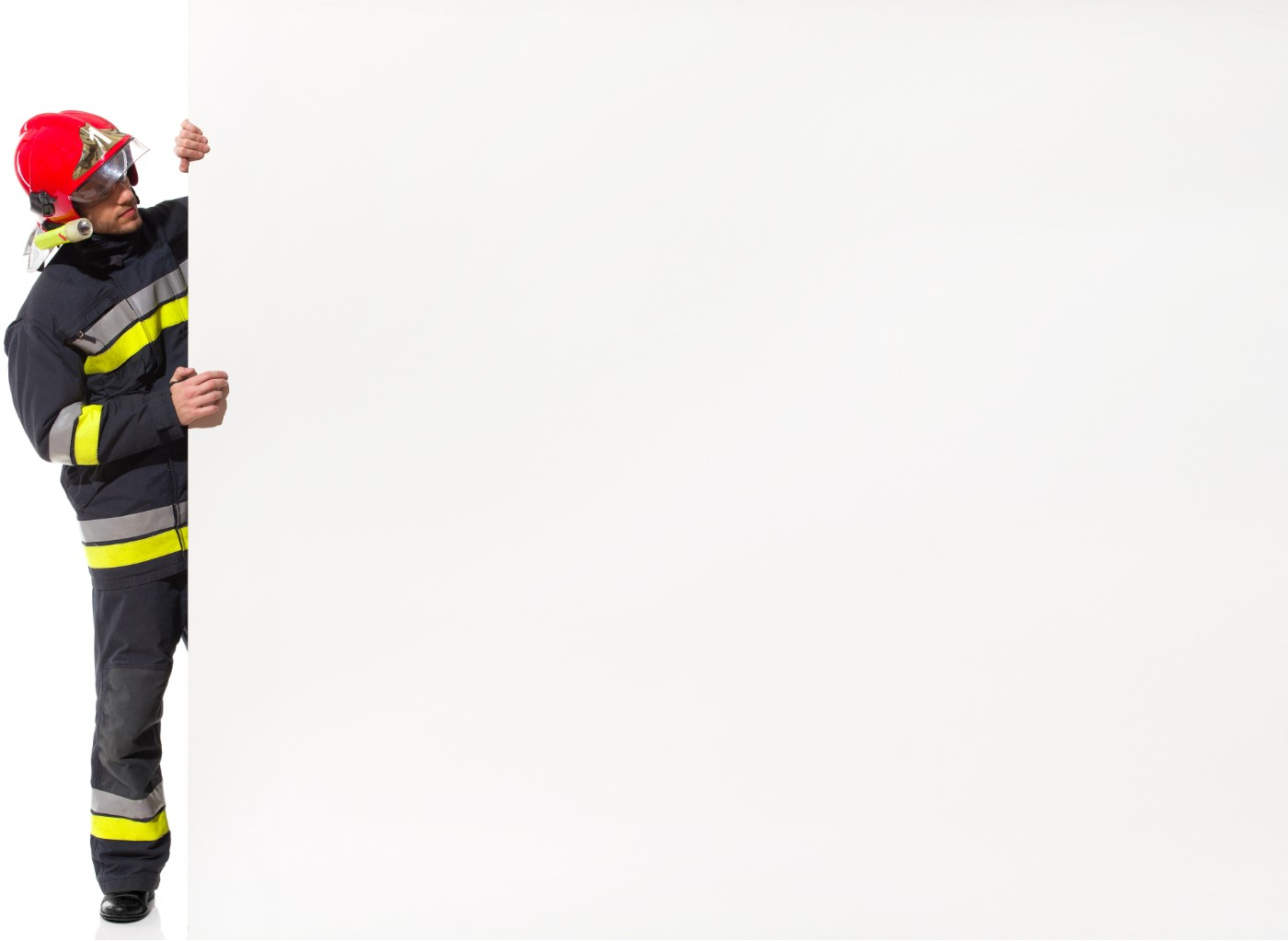 fireman-holding-banner